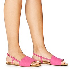 Faith - Pink suedette 'Jia' wide fit ankle strap sandals