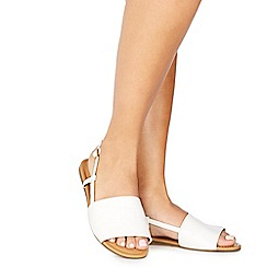Faith - White leatherette 'Jia' wide fit ankle strap sandals