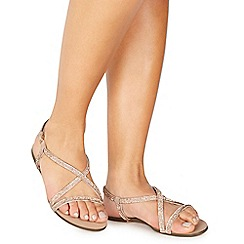 Faith - Rose diamante 'Jeaton' wide fit ankle strap sandals