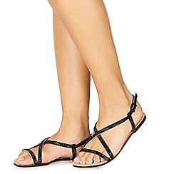 Faith - Black diamante 'Jeaton' wide fit ankle strap sandals