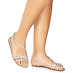 Faith - Silver diamante 'Jetty' ankle strap sandals