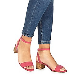 Faith - Pink suedette 'Daenerys' mid block heel ankle strap sandals