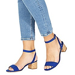 Faith - Blue suedette 'Daenerys' mid block heel ankle strap sandals