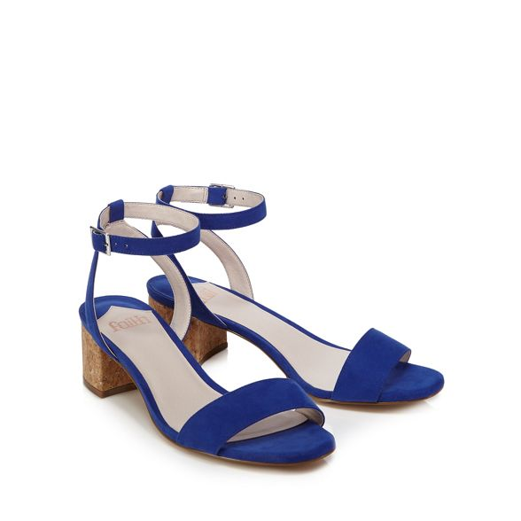 block suedette strap Blue sandals Faith mid ankle 'Daenerys' heel 5IxgZ
