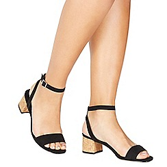 Faith - Black suedette 'Daenerys' mid block heel ankle strap sandals