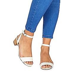 Faith - White 'Daenerys' mid block heel ankle strap sandals