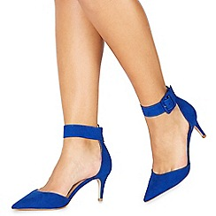 Faith - Blue suedette 'Cuff' mid stiletto heel pointed shoes