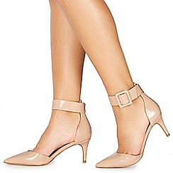 Faith - Nude patent 'Cuff' mid stiletto heel pointed shoes