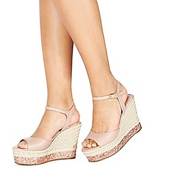 Faith - Light pink 'Liddy' high wedge heel ankle strap sandals