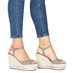 Faith - Grey 'Liddy' high wedge heel ankle strap sandals
