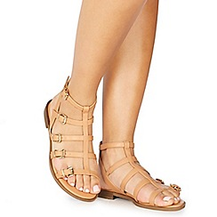 Faith - Nautral leatherette 'Julian' ankle strap gladiator sandals