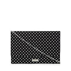 Faith - Black 'Poppy' spotted clutch bag