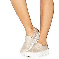 Faith - Light gold glitter 'Klip' slip on trainers
