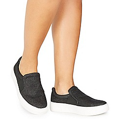 Faith - Black glitter 'Klip' slip on trainers