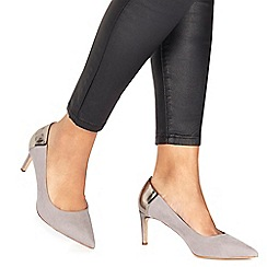 Faith - Grey suedette 'Cacey' high heel wide fit pointed shoes