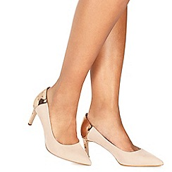 Faith - Nude suedette 'Cacey' high heel wide fit pointed shoes