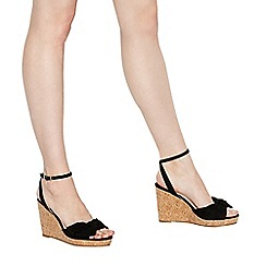 Faith - Black suedette 'Dakota' high wedge heel wide fit ankle strap sandals