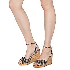 Faith - Tan 'Dakota' high wedge heel wide fit ankle strap sandals