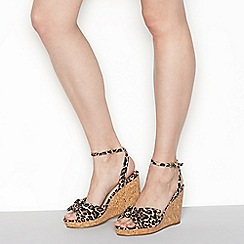 Faith - Tan leopard print 'Dakota' high wedge heel wide fit ankle strap sandals