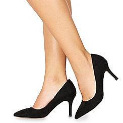 Faith - Black suedette 'Chariot' high stiletto heel wide fit pointed shoes