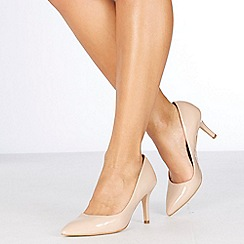 Faith - Natural patent 'Chariot' high stiletto heel wide fit pointed shoes