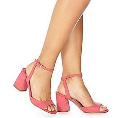 Faith - Pink suedette 'Danicar' mid block heel ankle strap sandals