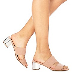 Faith - Natural suedette 'Winona' mid block heel wide fit sandals