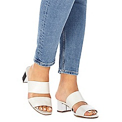 Faith - Silver 'Winona' mid block heel wide fit sandals