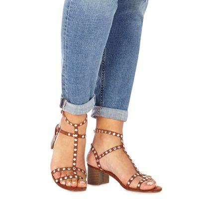 Faith - Tan suedette studded 'Dart' mid block heel T-bar sandals