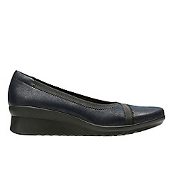 Clarks - Navy synthetic 'Caddell Dash' pumps
