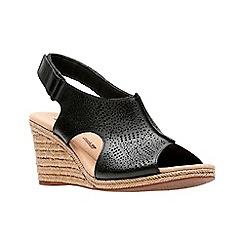 Clarks - Black leather 'Lafley Rosen' mid wedge heel peep toe sandals