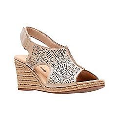 Clarks - Beige leather 'Lafley Rosen' mid wedge heel peep toe sandals