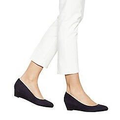 Good for the Sole - Navy suedette 'Gretchen' mid wedge heel wide fit court shoes