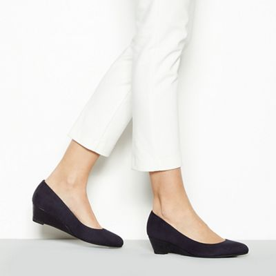 331508d47a801 Good for the Sole - Navy suedette  Gretchen  mid wedge heel wide fit court  shoes
