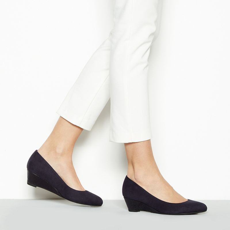 Good for the Sole - Navy Suedette Gretchen Mid Wedge Heel
