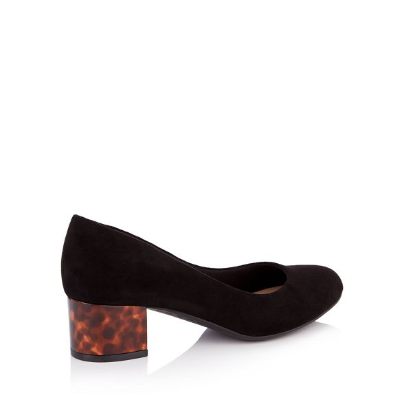 shoes the Sole court block heel Black 'Gianni' suedette fit mid Good for wide 75qx66