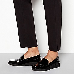 Good for the Sole - Black patent flatform heel loafers