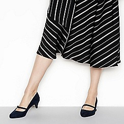 Good for the Sole - Navy suedette 'Gosh' mid kitten heel wide fit Mary Janes