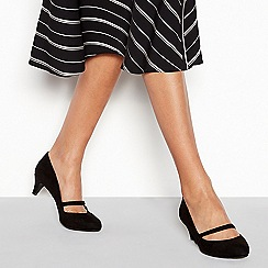 Good for the Sole - Black suedette 'Gosh' mid kitten heel wide fit Mary Janes