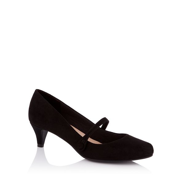 heel Sole mid the kitten wide for fit Janes 'Gosh' Black suedette Mary Good 8xEqpUwf