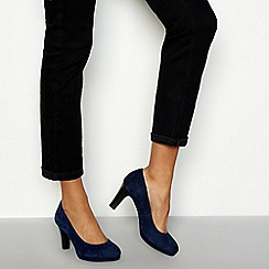 Good for the Sole - Navy suede 'Lala' high block heel wide fit court shoes