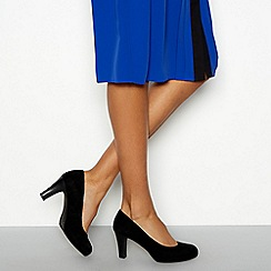 Good for the Sole - Black suede 'Lala' high block heel wide fit court shoes
