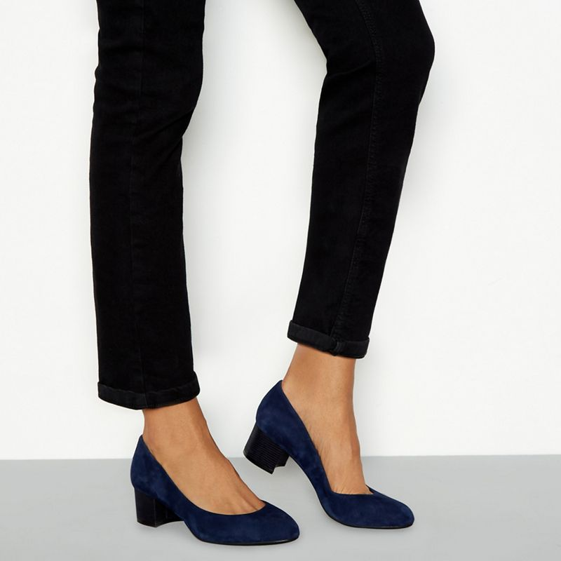 Good for the Sole - Navy Suede Lianni Mid Block Heel Wide Fit Court Shoes