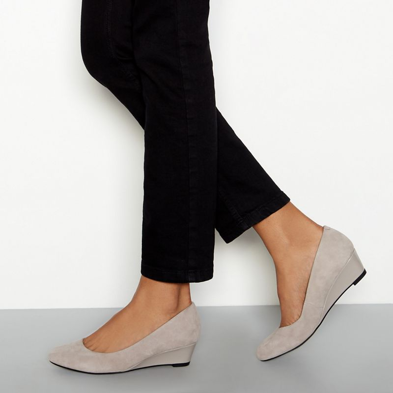 Good for the Sole - Light Grey Suede Ledge Wedge Heel Wide