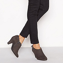Good for the Sole - Dark grey faux suede 'Gen' high block heel wide fit ankle boots