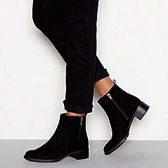 Good for the Sole - Black 'Grape' block heel wide fit ankle boots