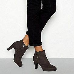 Good for the Sole - Grey suedette high heeled ankle boots
