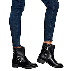 Good for the Sole - Black 'Guilted' Block Heel Wide Fit Biker Boots