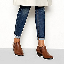 Good for the Sole - Tan 'Goma' block heel wide fit ankle boot