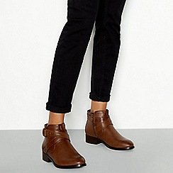 Good for the Sole - Tan 'Goose' block heel wide fit ankle boots